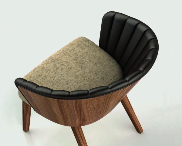 solid lounging - Loungestuhl mit 4-Fuß-Gestell in Nussbaum-massiv